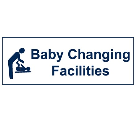SIGN - BABY CHANGING FACILITIES RIGID PLASTIC 30 X 10CM BLUE ON WHITE