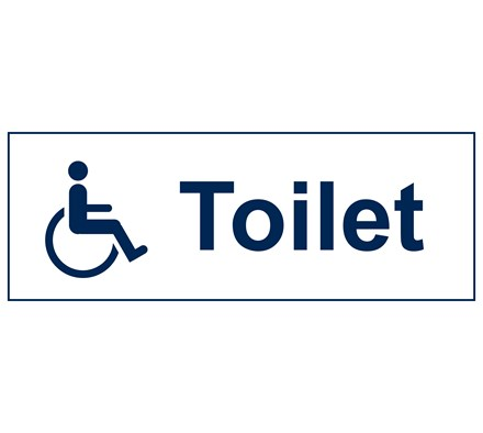 SIGN - DISABLED (TOILETS) RIGID PLASTIC 30 X 10CM BLUE ON WHITE