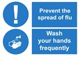 SIGN - FLU - WASH YOUR HANDS FREQUENTLY LAMINATED
