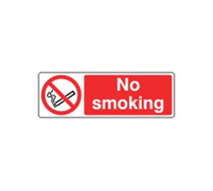 SIGN - NO SMOKING SELF ADHESIVE VINYL 60 X 20CM RED ON WHITE