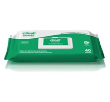 WIPES CLINELL HAND/SURFACE/INSTRUMENT ANTIBACTERIAL PACKET OF 40 X 1