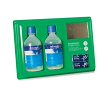 EYE WASH STATION WALL MOUNTED 2 X 500ML BOTTLES WITH MIRROR