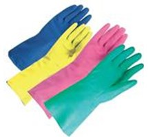 GLOVE HOUSEHOLD - GREEN - SMALL LATEX (SIZE 7) X 1 PAIR (COLOUR CODED)