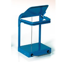 REFUSE BAG HOLDER 50 LITRE BLUE LID CASTORS & PEDAL