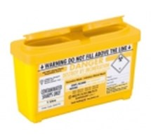SHARPS BIN+LID 1LTR YELLOW