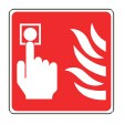 SIGN - FIRE CALL POINT SELF ADHESIVE VINYL 10 X 10CM WHITE ON RED