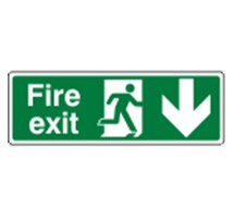 SIGN - FIRE EXIT DOWN SELF ADHESIVE VINYL 30 X 10CM WHITE ON GREEN