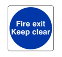 SIGN - FIRE EXIT KEEP CLEAR SELF ADHESIVE VINYL 20 X 20CM BLUE ON WHITE