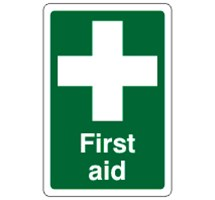 SIGN - FIRST AID SELF ADHESIVE VINYL 20 X 30CM WHITE ON GREEN