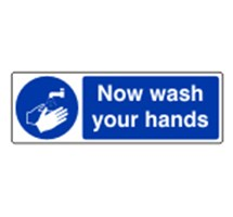 SIGN - NOW WASH YOUR HANDS SELF ADHESIVE VINYL 30 X 10CM BLUE ON WHITE
