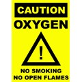 SIGN - OXYGEN CAUTION (YELLOW) LAMINATED A4 (PORTRAIT)