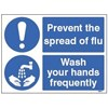 SIGN - PREVENT THE SPREAD OF FLU  WASH YOUR HANDS SELF ADHESIVE VINYL 150MMX200M