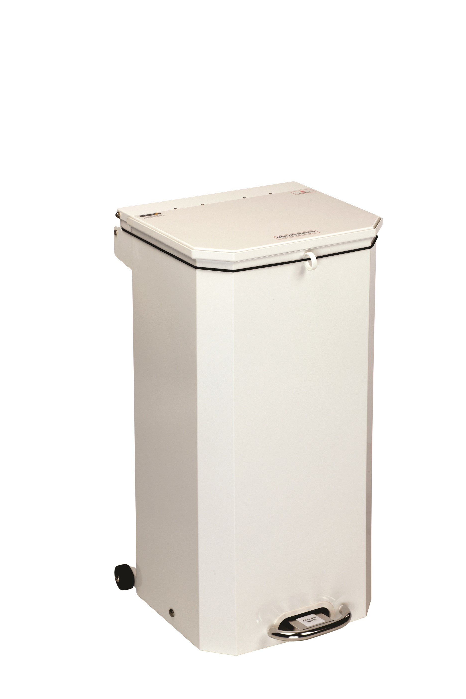 BIN PEDAL 70 LTR WITH WHITE LID FOR AMALGAM WASTE