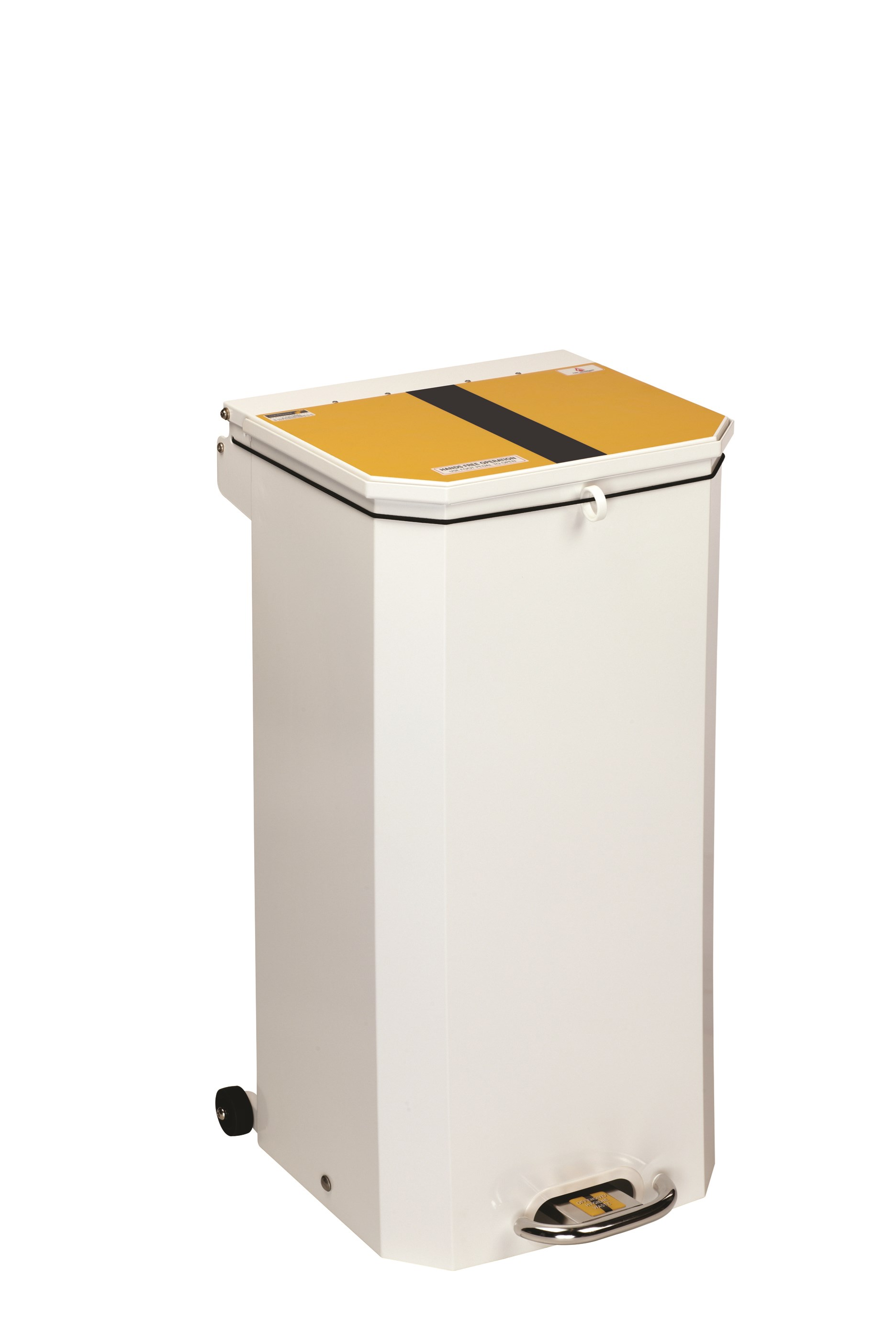 BIN PEDAL 70 LTR WITH YELLOW AND BLACK LID FOR OFFENSIVE/HYGIENE WASTE