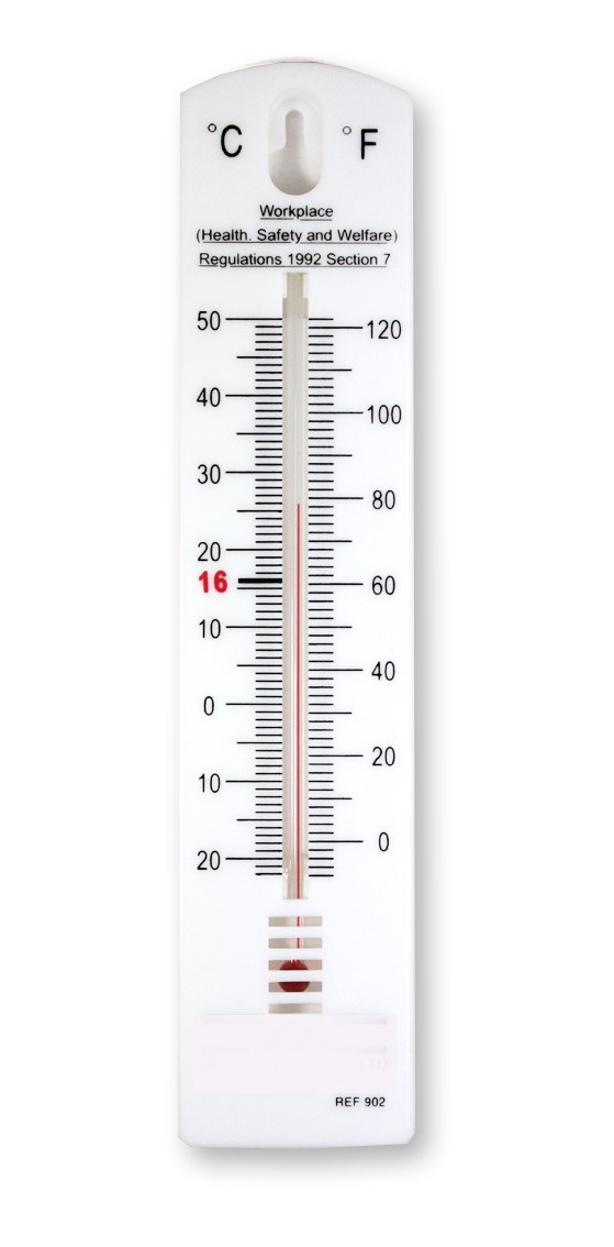 Thermometer Room Black Plastic 7c To 50c Medical World