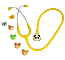 STETHOSCOPE SISTER SUNSHINE YELLOW TUBING 7 DIFFERENT ANIMAL HEADS