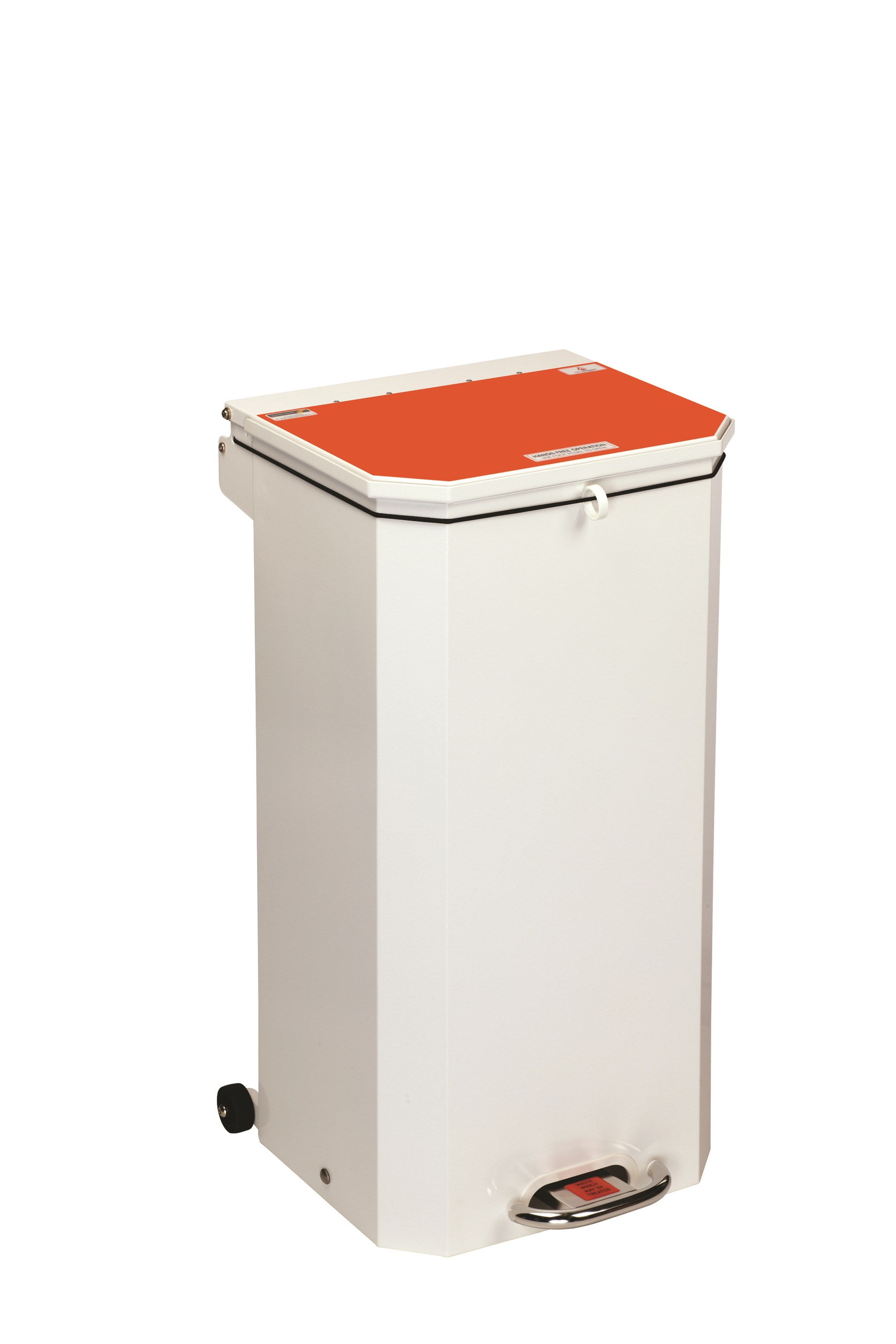 BIN PEDAL 70 LTR WITH ORANGE LID WASTE TO BE TREATED
